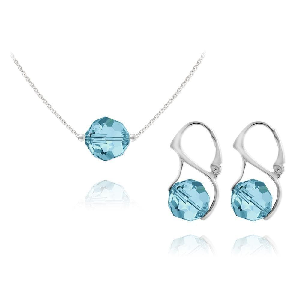 Silver Pendant Necklace Jewellery Set Aquamarine