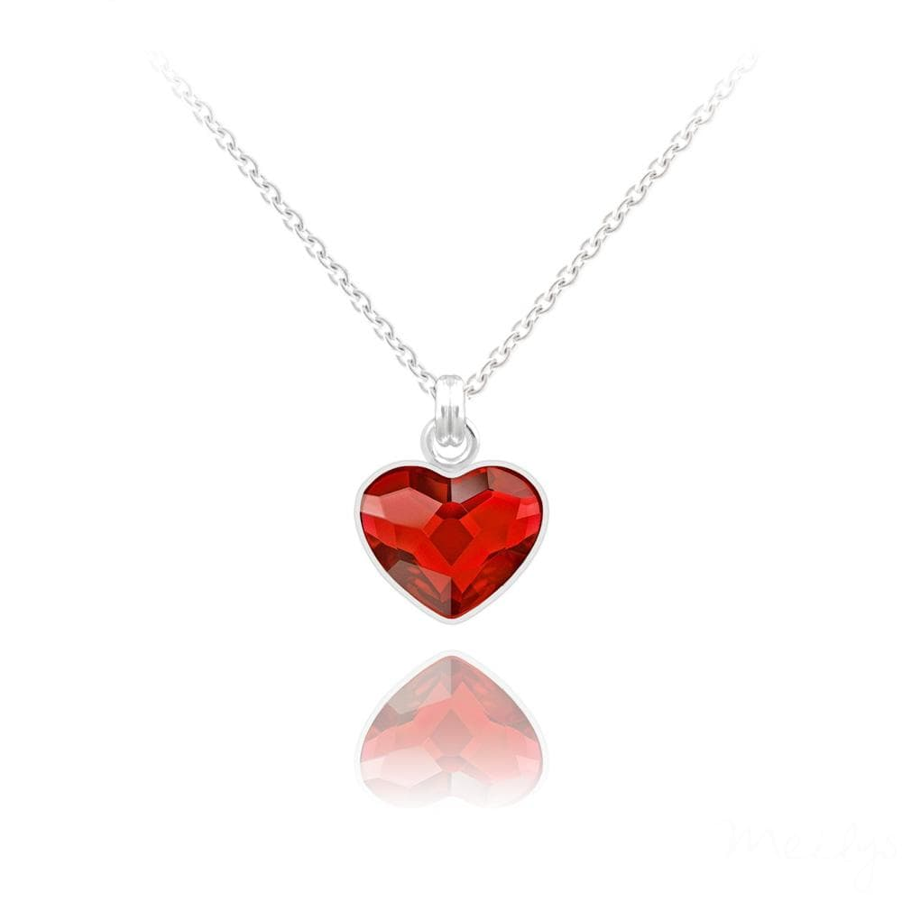 Silver Light Siam Heart Necklace