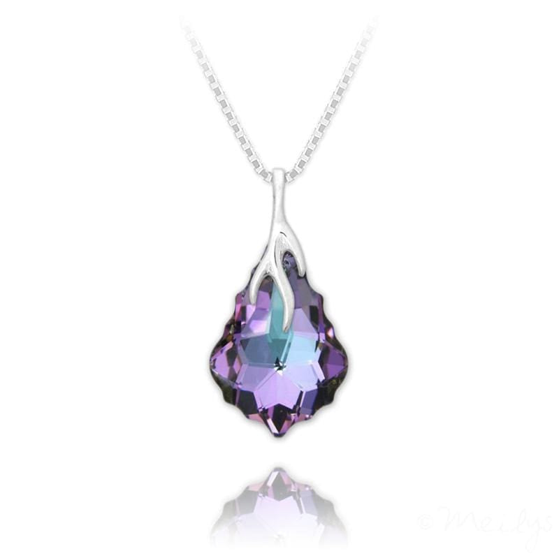 Silver  Vitrail Light Baroque Crystal Drop Necklace