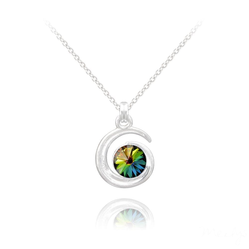Silver Moon Pendant With Rainbow Swarovski Crystal