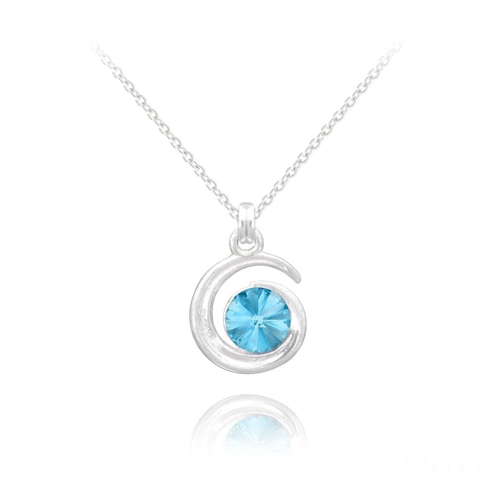 Silver Moon Necklace with Swarovski Crystal
