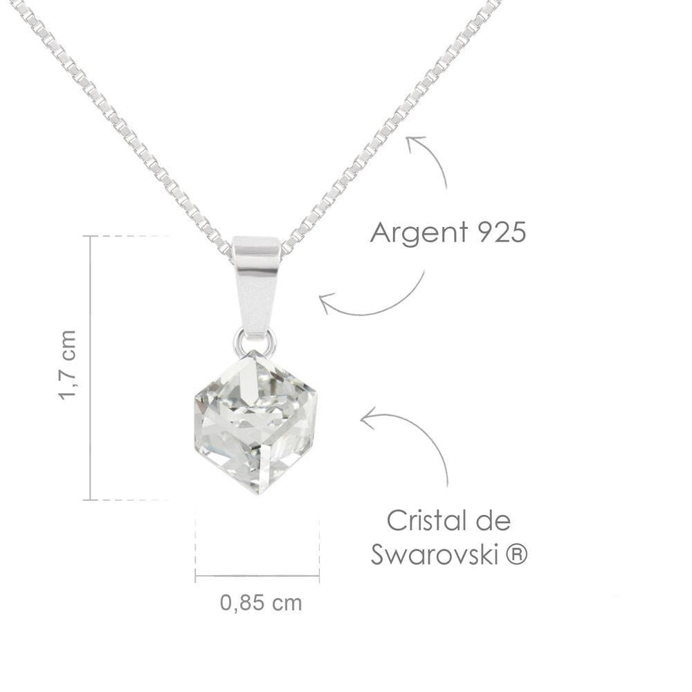 Crystal White Cube Necklace