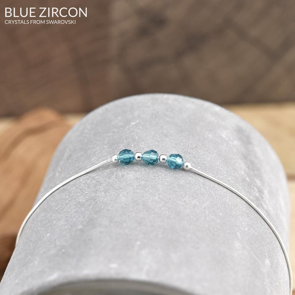 Blue Zircon Silver Bracelet with Swarovski Crystal