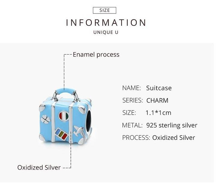 Colorful Silver Suitcase Charm