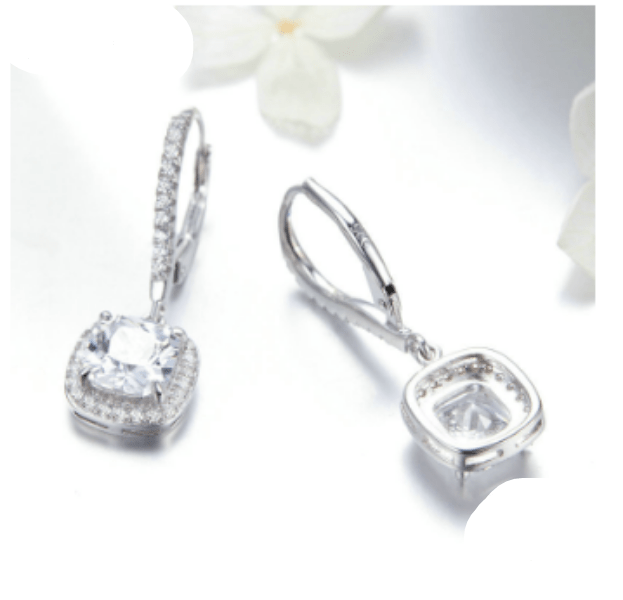 Square Cut Cubic Zirconia Earrings
