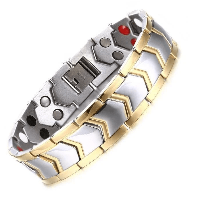Paved Dual Tone Silver Gold Mens Health Bracelet