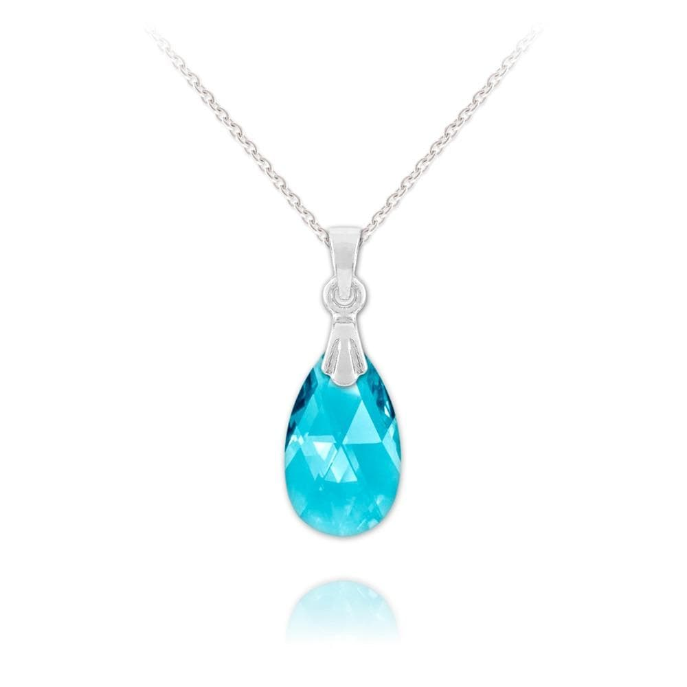 Silver Aquamarine Pear Necklace