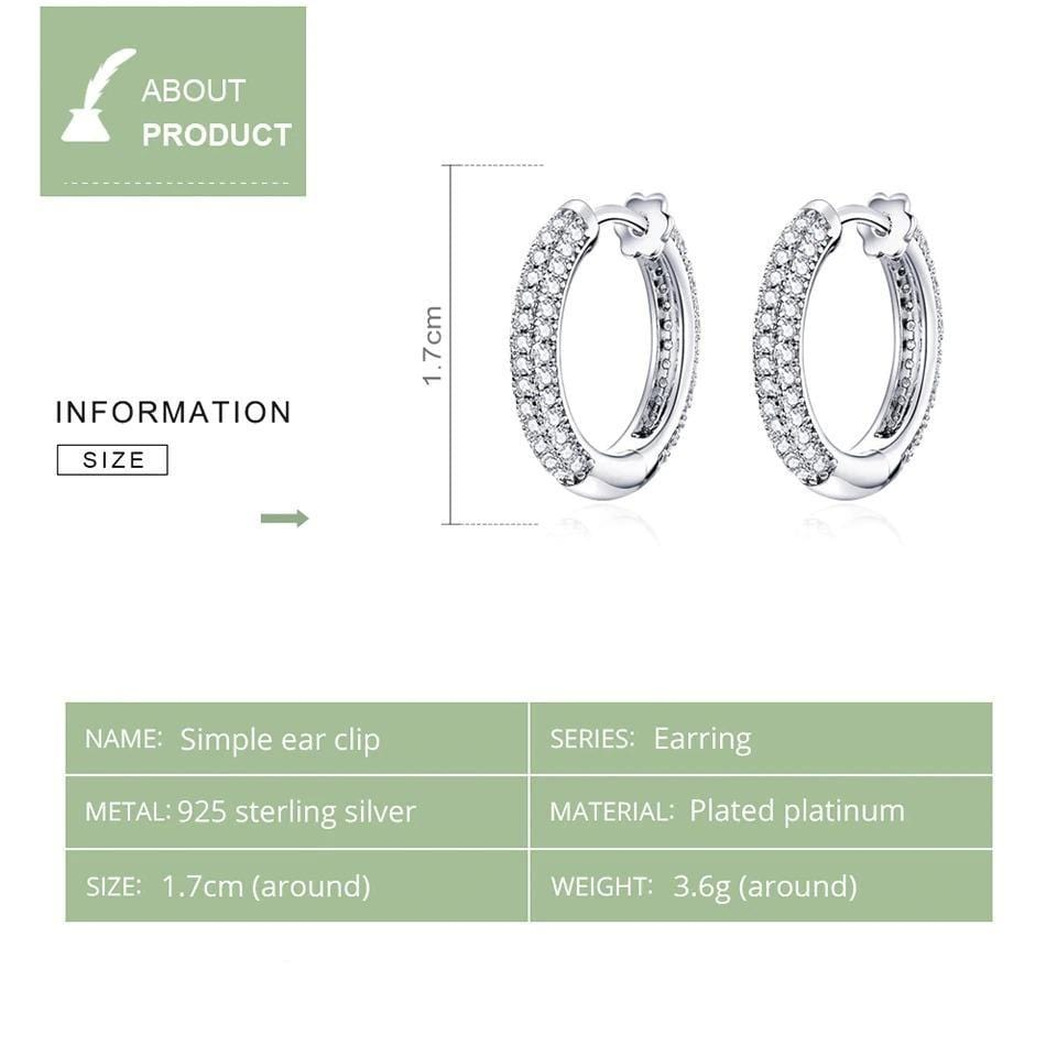 Crystal Studded Silver Hoops
