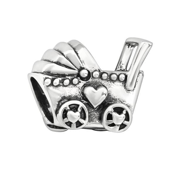 Silver Baby Carriage Charm Bead