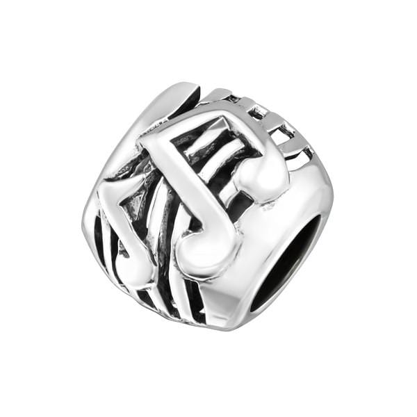 Silver Music Note Charm Bead