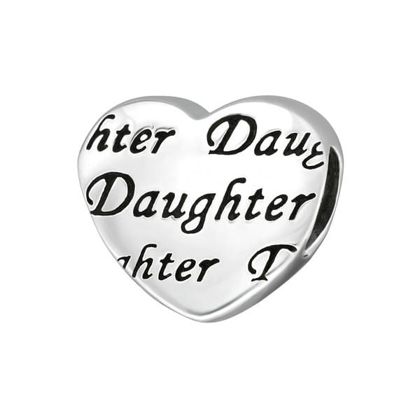 Silver Daughter Heart Charm Bead