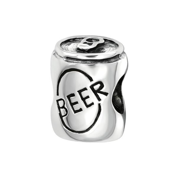 Silver Beer Can Charm Bead