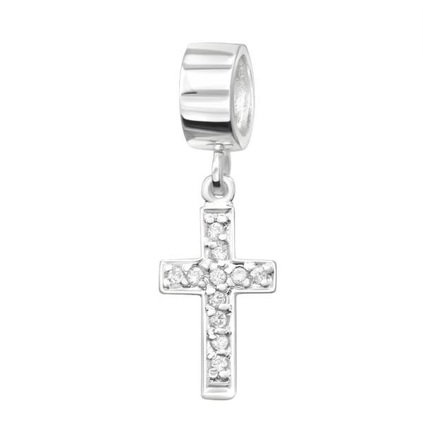 Silver Hanging White Cross Charm Bead