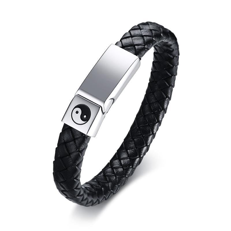 Mens Black Leather Bracelets with Steel Clasp