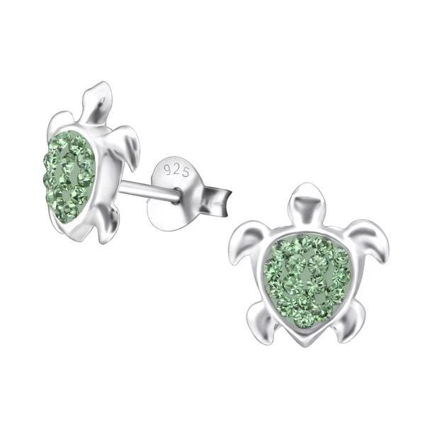Silver Kids Turtle Stud Earrings With Swarovski Crystal