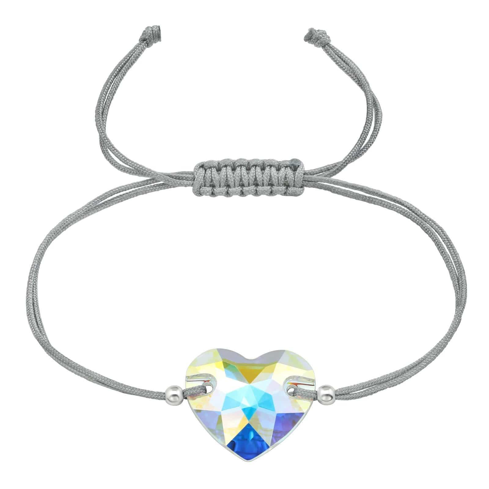 Sterling Silver Heart Adjustable  Bracelet with Swarovski Crystal