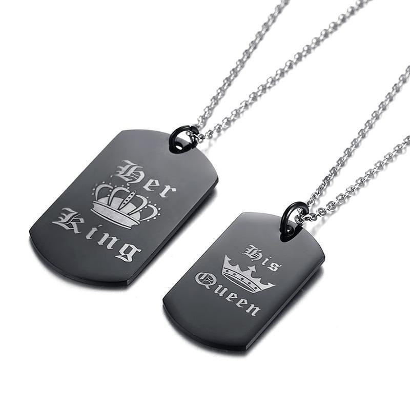 Stainless Steel King Queen Necklace for Couple