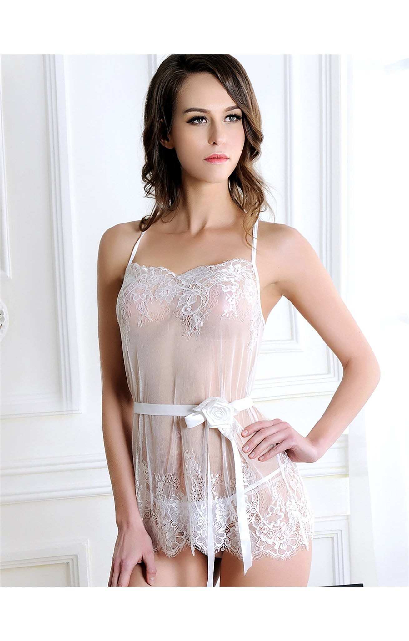 Ivory Lace Babydoll And G-String