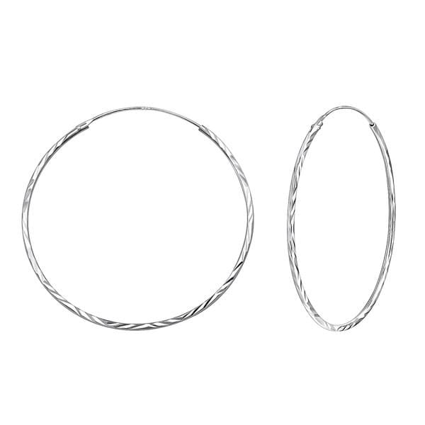 Silver Twisted Circle Earrings 40mm