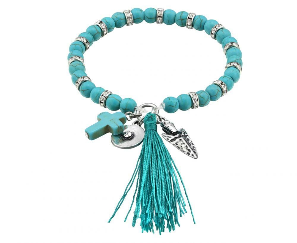 Beaded Turquoise Bracelet with Tassel and Cross Charm 16 CM