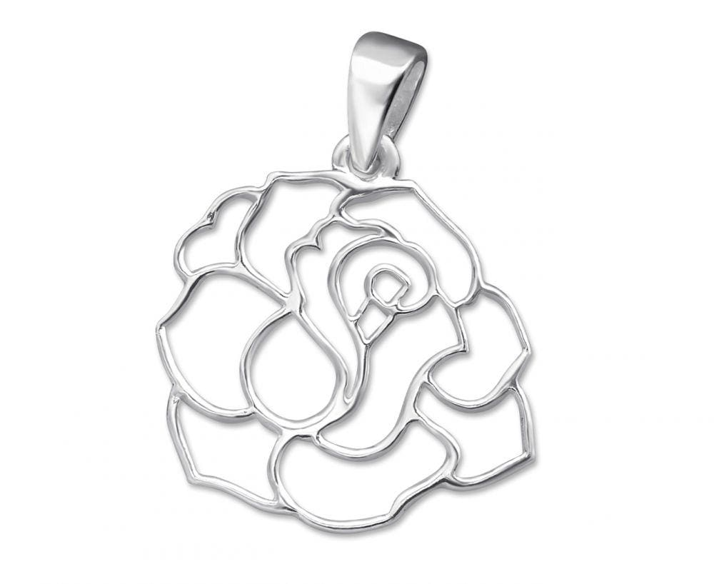Silver Rose Cut-out Pendant