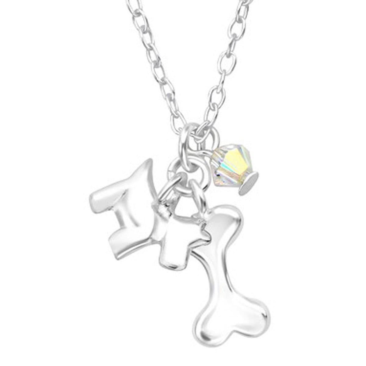 Sterling Silver Dog Lovers Necklace Made With Swarovski Crystals
