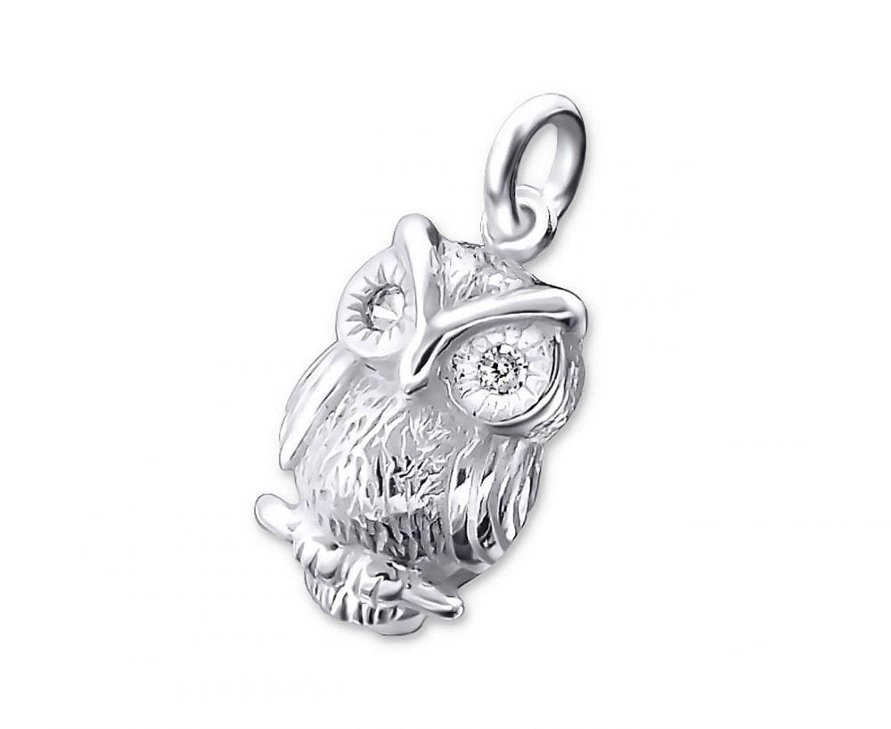 Silver Owl Pendant with Diamantes