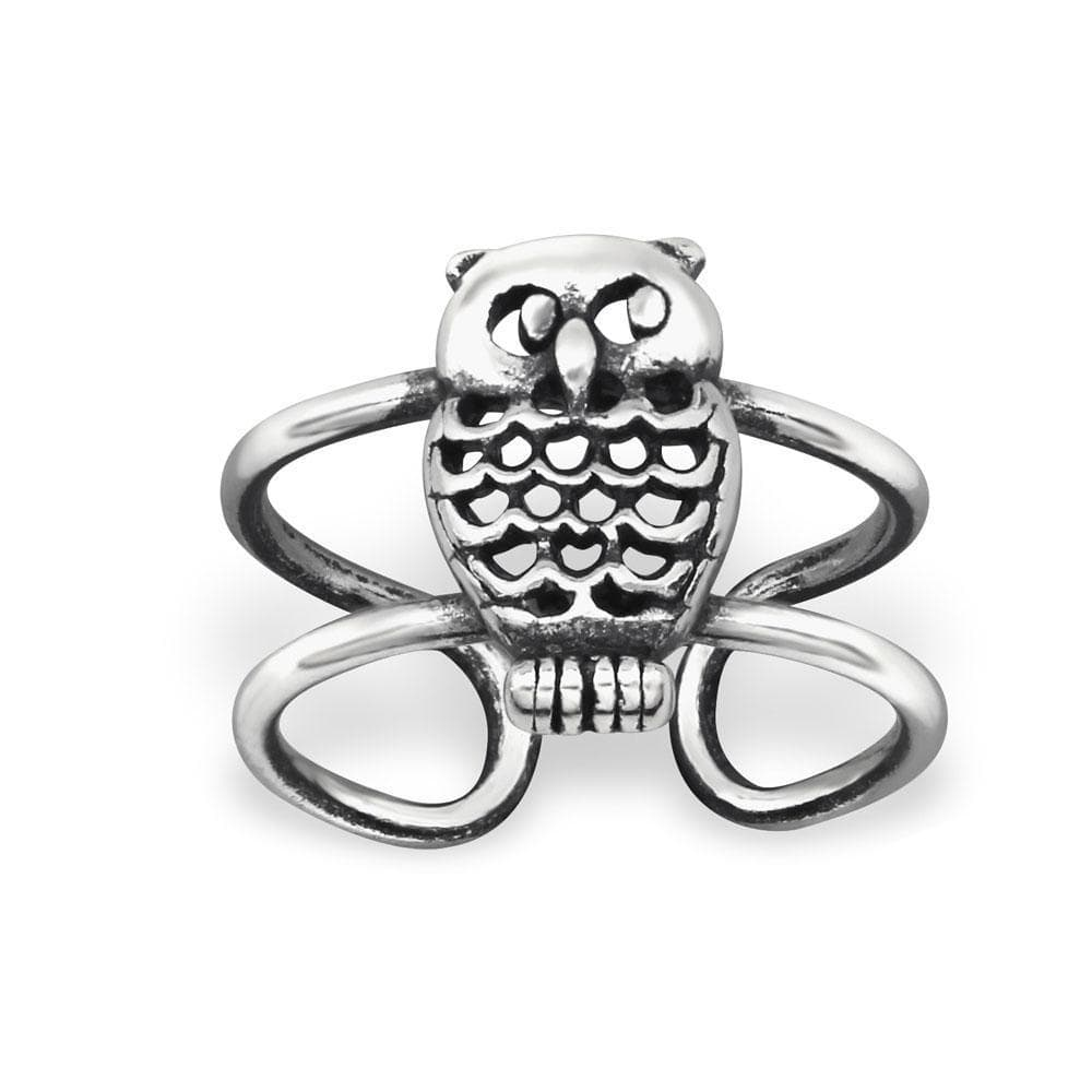 Sterling Silver Oxidised Owl Ear Cuff