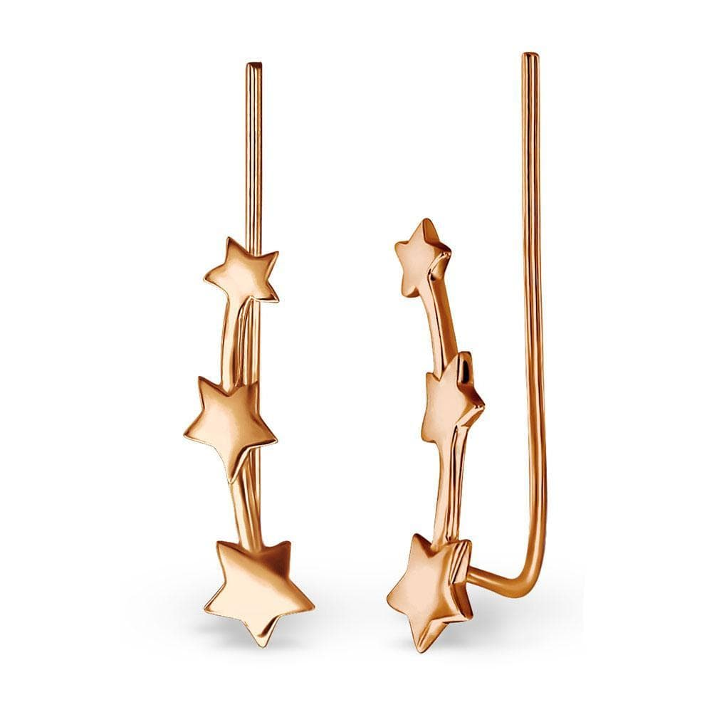 Rose Gold Silver Stars Long Ear Cuff