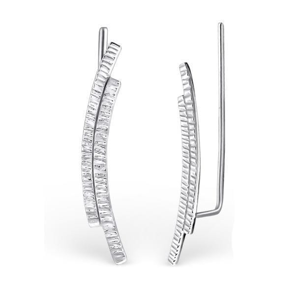 Silver Curved Ear Cuffs
