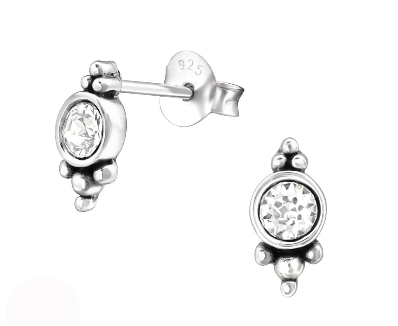 Sterling Silver Oxidized Stud Earrings Made With Swarovski Crystal