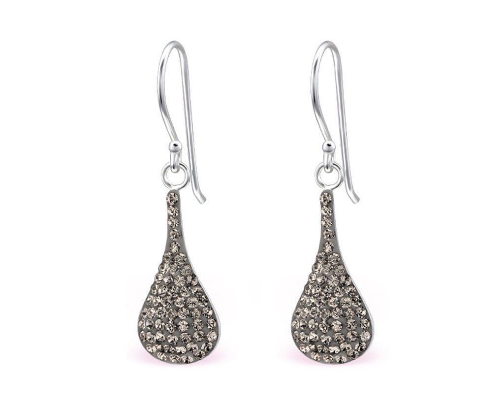 Sterling Silver Pear Earrings Made With Swarovski Crystal