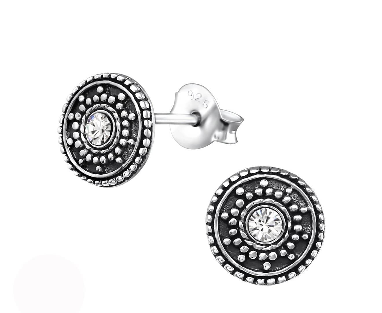 Sterling Silver Round Antique Stud Earrings Made With Swarovski Crystal