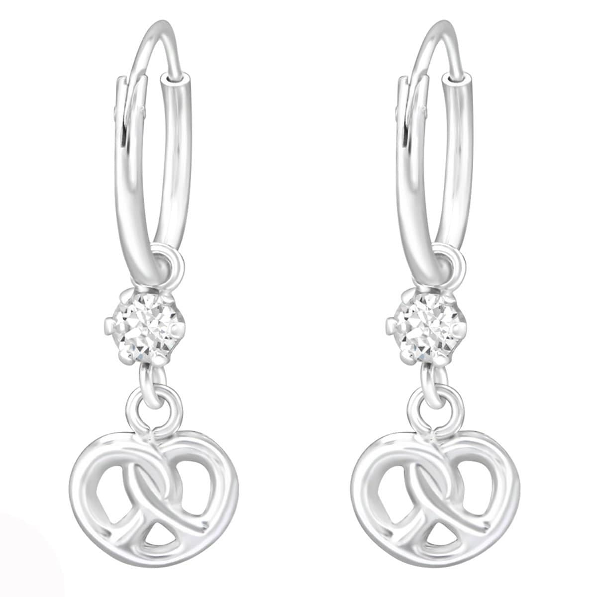 Sterling Silver Infinity Knot hoop earring Made With Swarovski Crystal