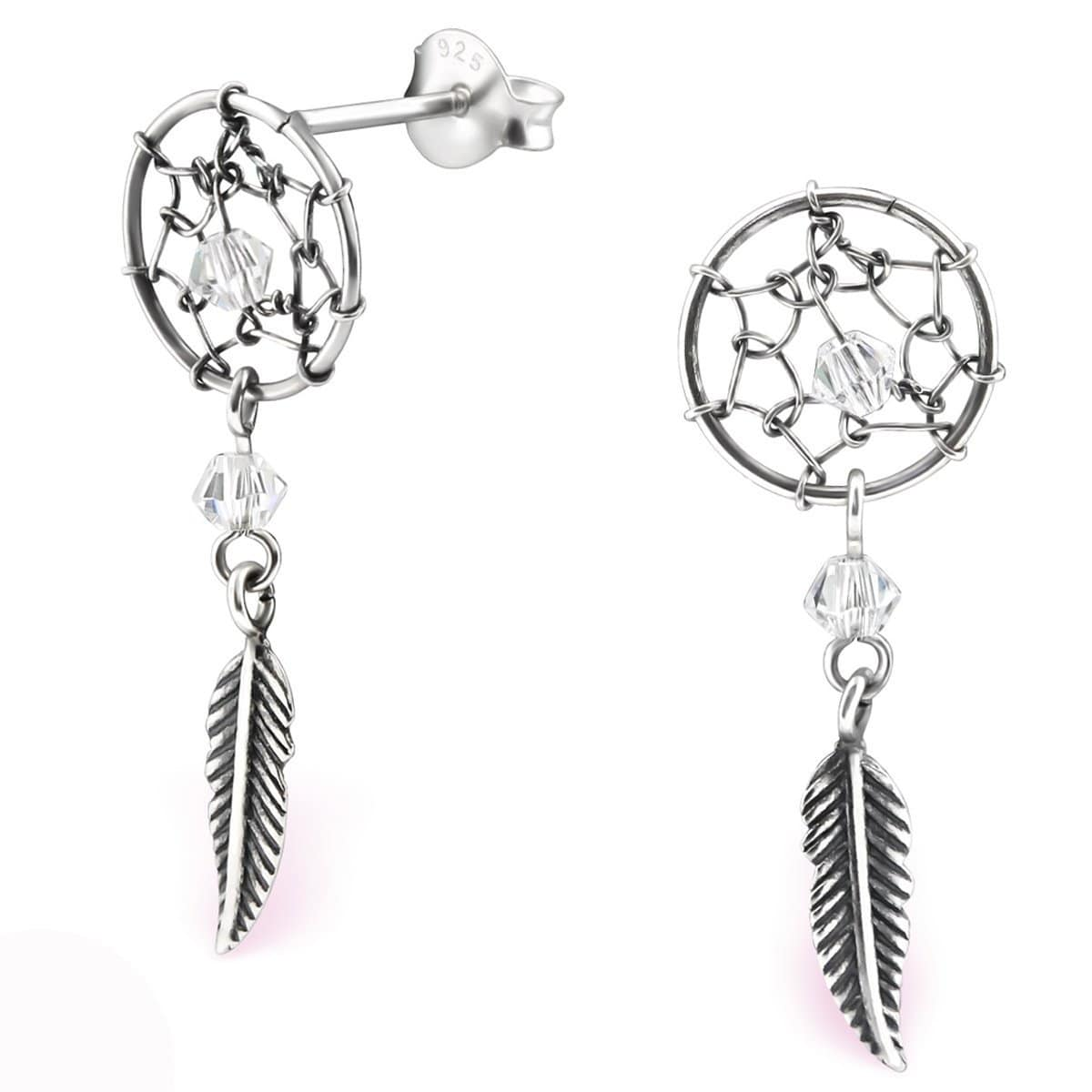 Sterling Silver Hanging Feather Stud Earrings Made With Swarovski Crystal