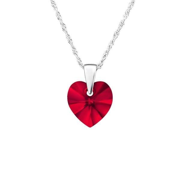Sterling Silver Heart Necklace Made With Swarovski Crystal