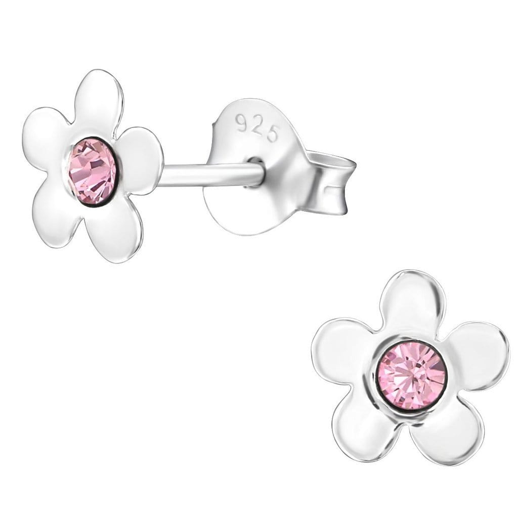 Sterling Silver Kids Flower Stud earrings Made With Swarovski Crystal