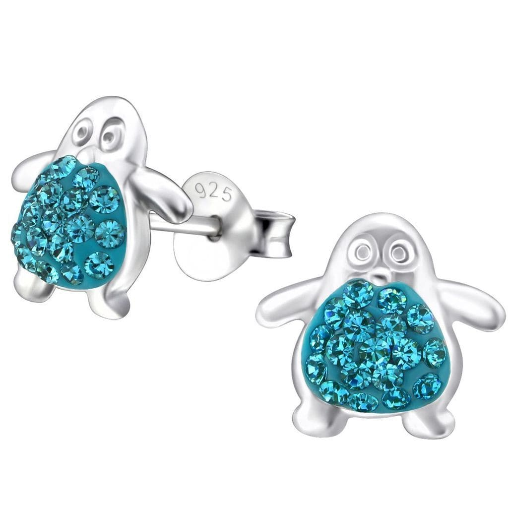 Silver  Penguin Stud earrings  for Girls Made with Swarovski Crystal