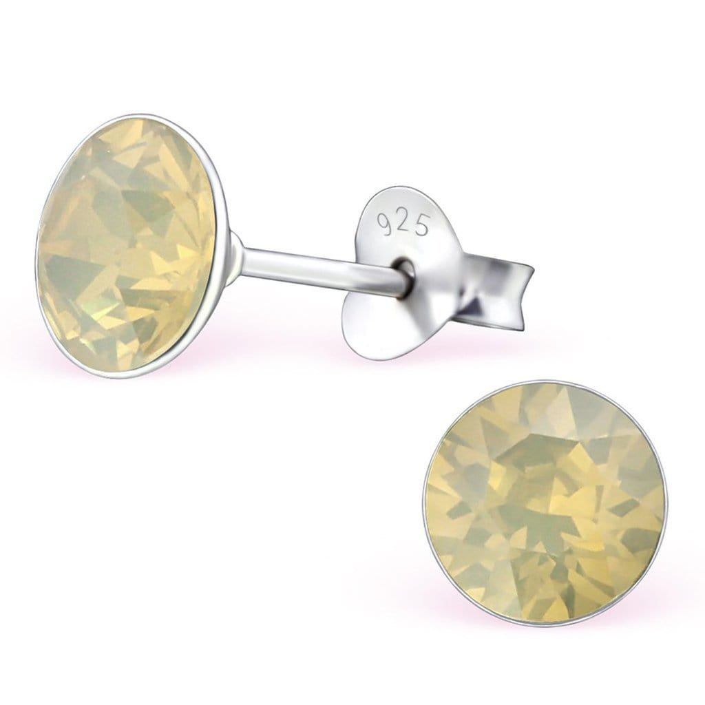Silver Round Stud Earrings with Swarovski Crystal