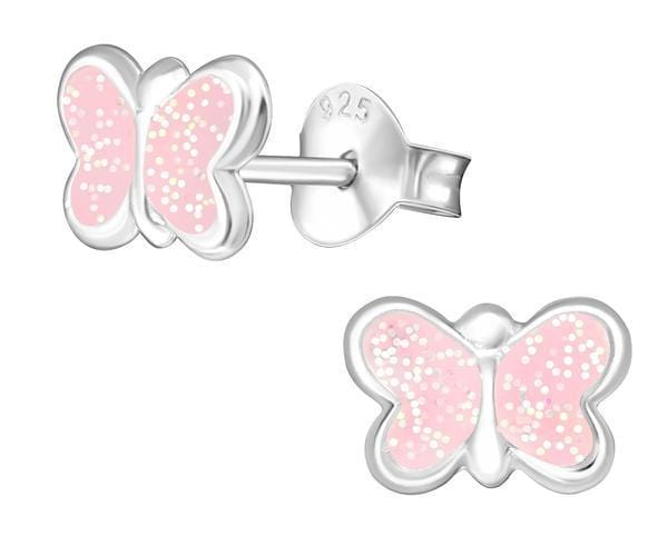 Children's Sterling Silver Light Pink Glitter Butterfly Earrings