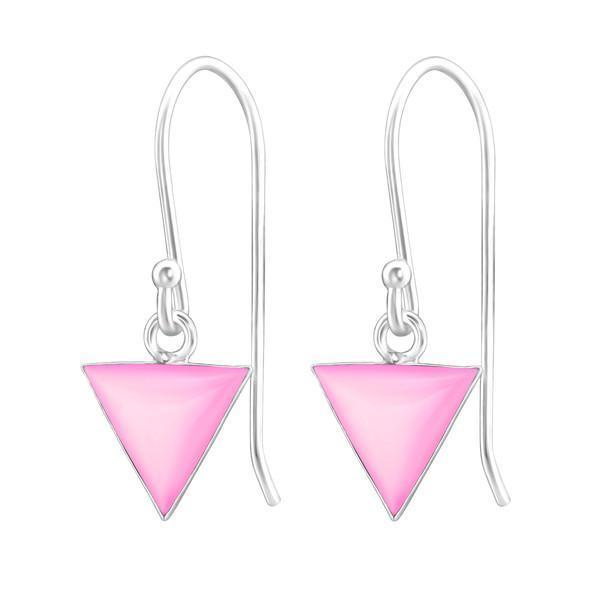 Silver Triangle Earring With Stones Jewellery