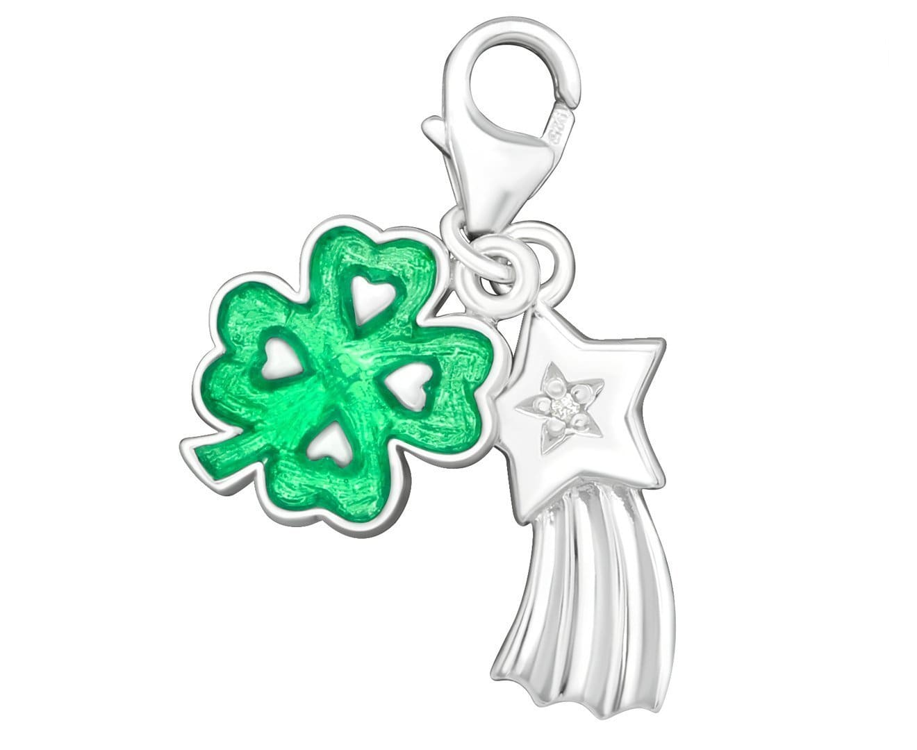 Sterling Silver Lucky Clover Clip on Charm