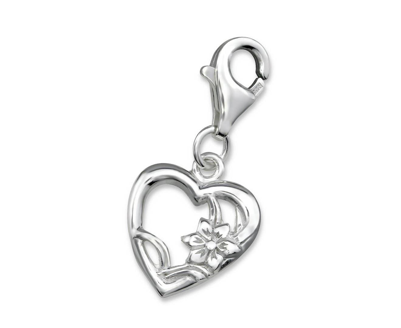 Sterling Silver Heart Charm With Lobster