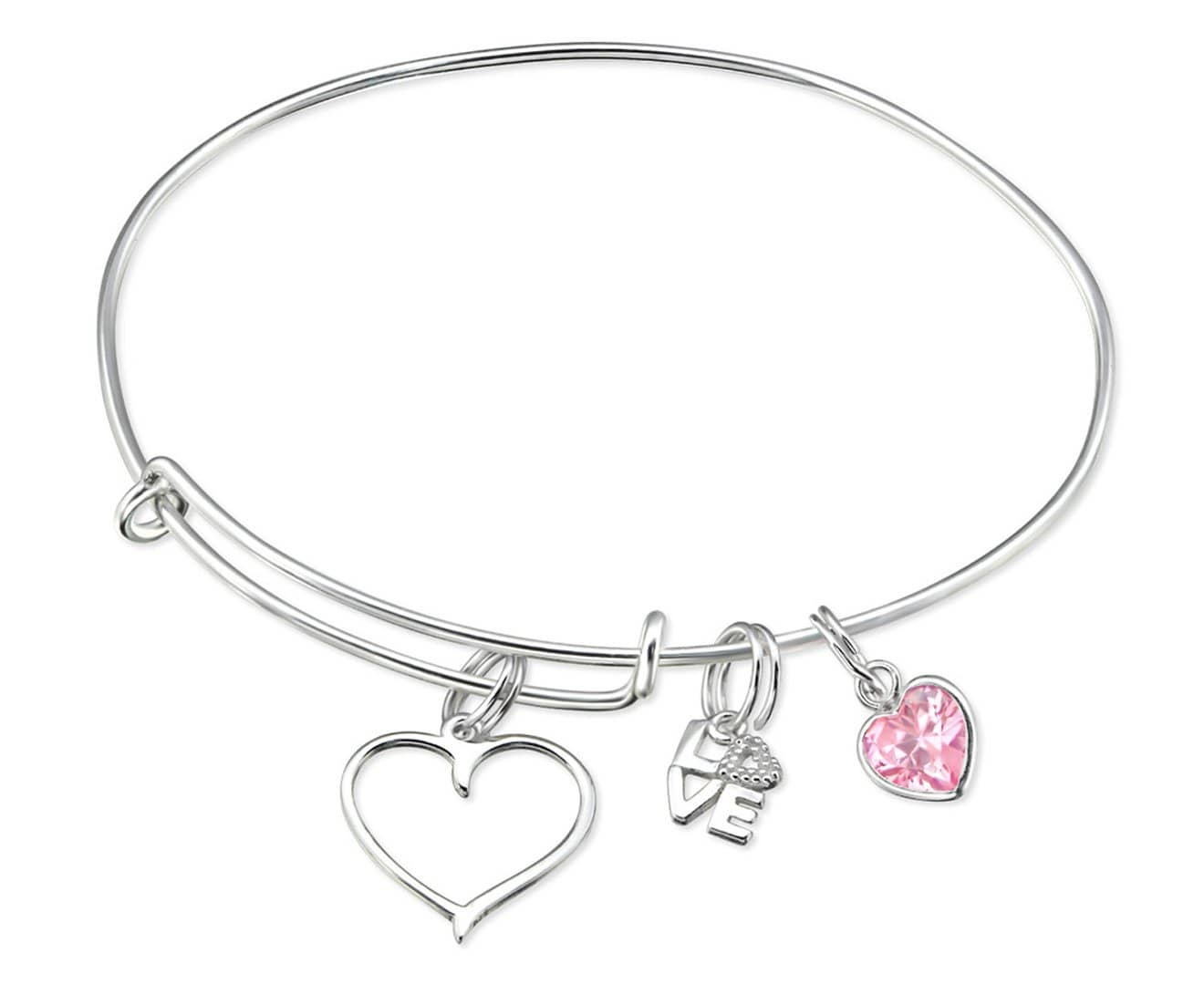 Sterling Silver Hanging Love Charms Bangle