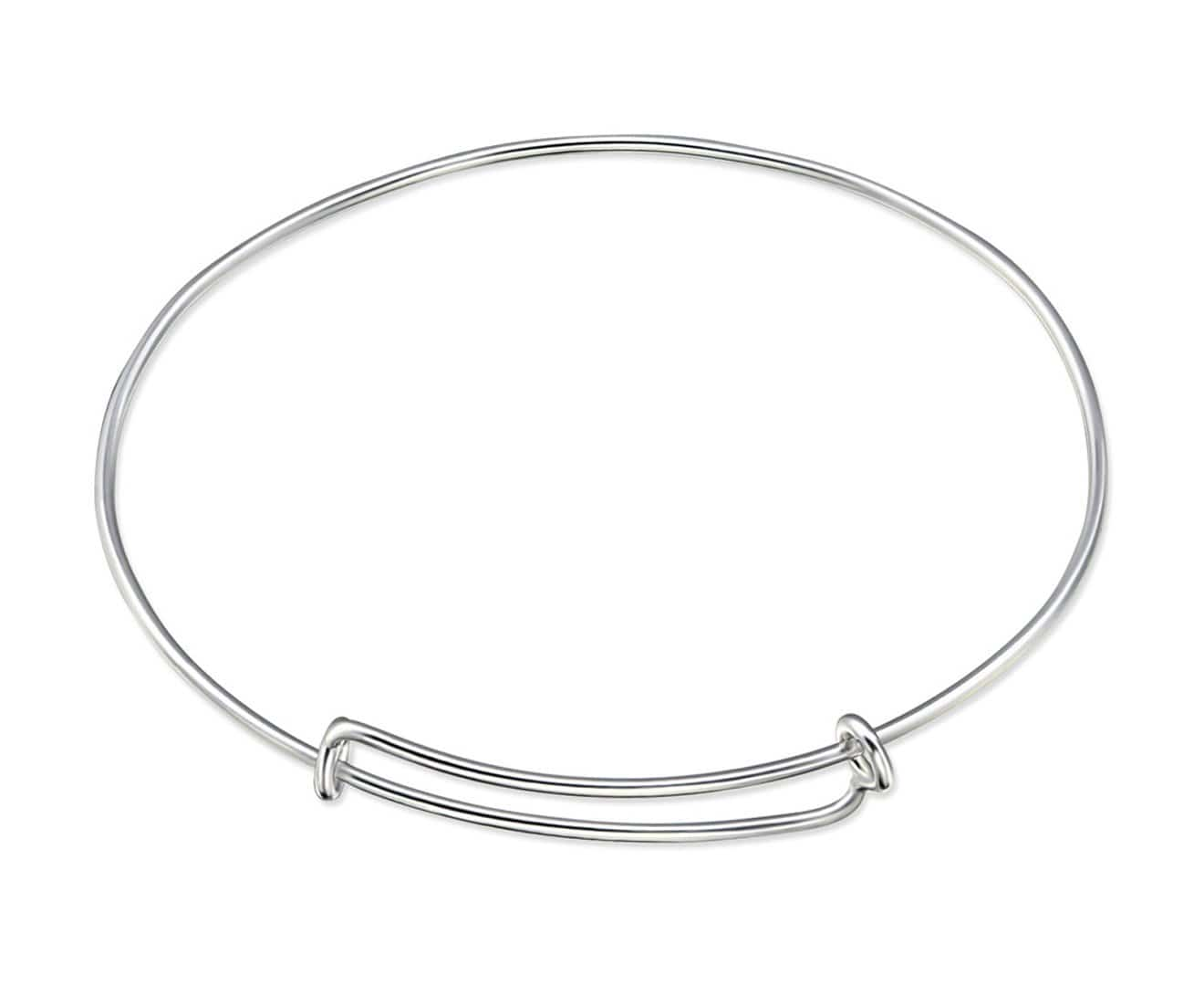 Sterling Silver Adjustable Charm Bangle