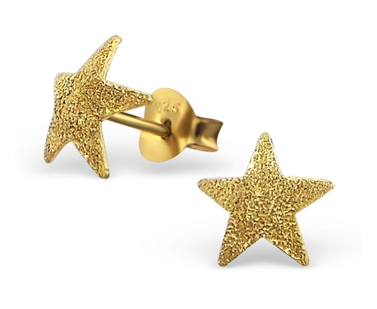 14K Gold Plated Sterling Silver Star Stud Earrings