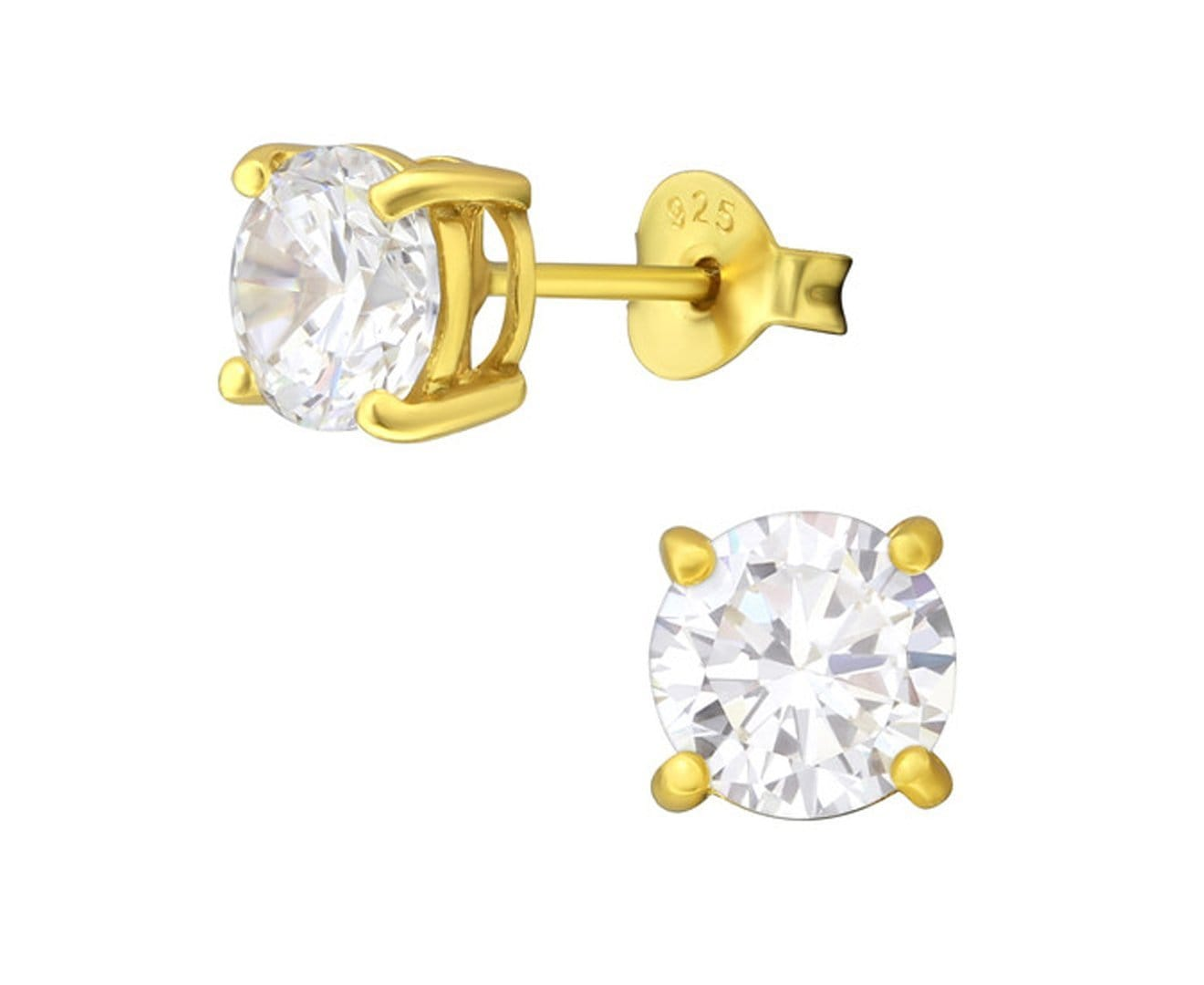 14K Gold Plated Sterling Silver CZ Crystal 6mm Silver Stud Earrings