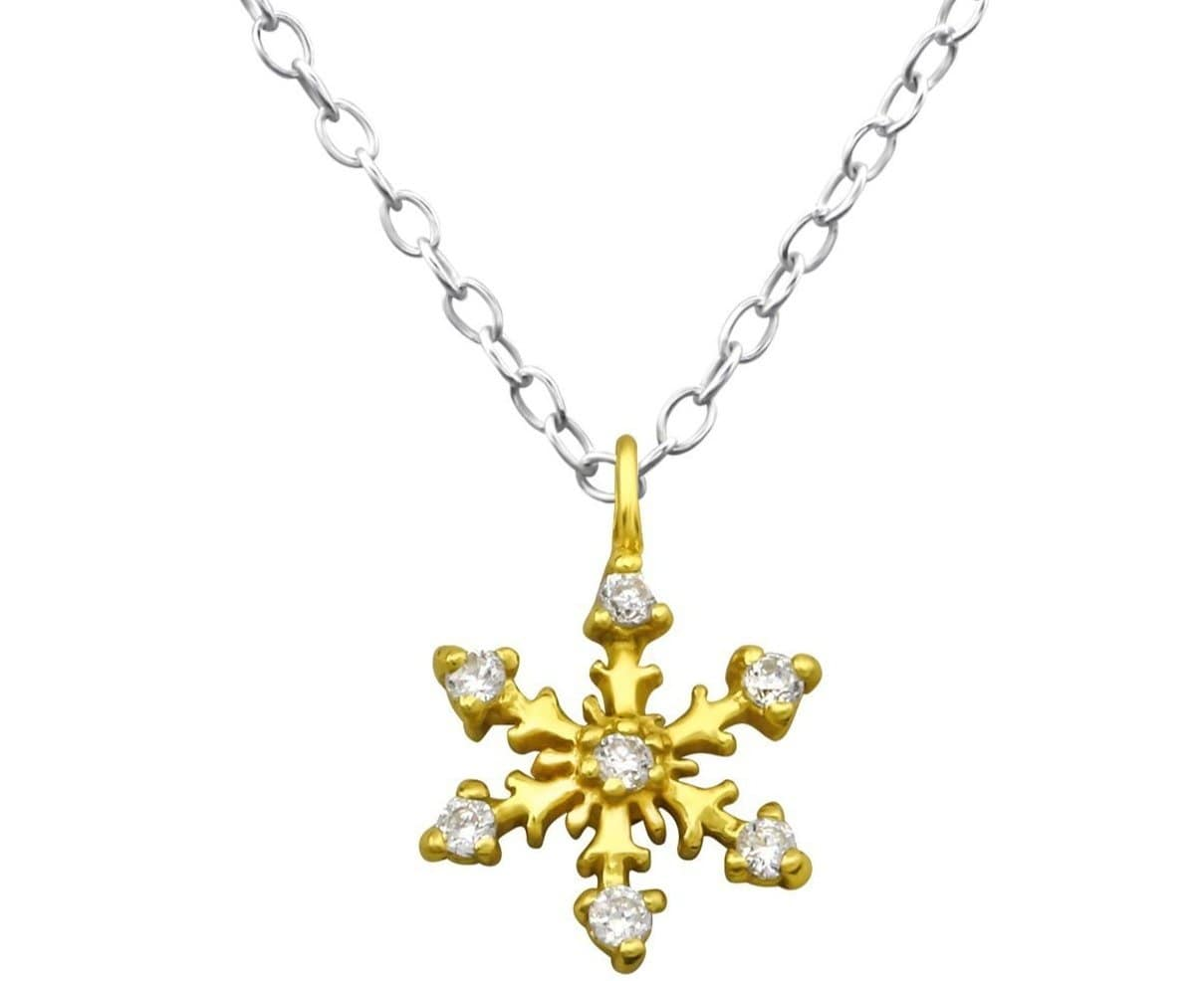 14K Gold Plated Sterling Silver Gold Plated Snowflake Necklace