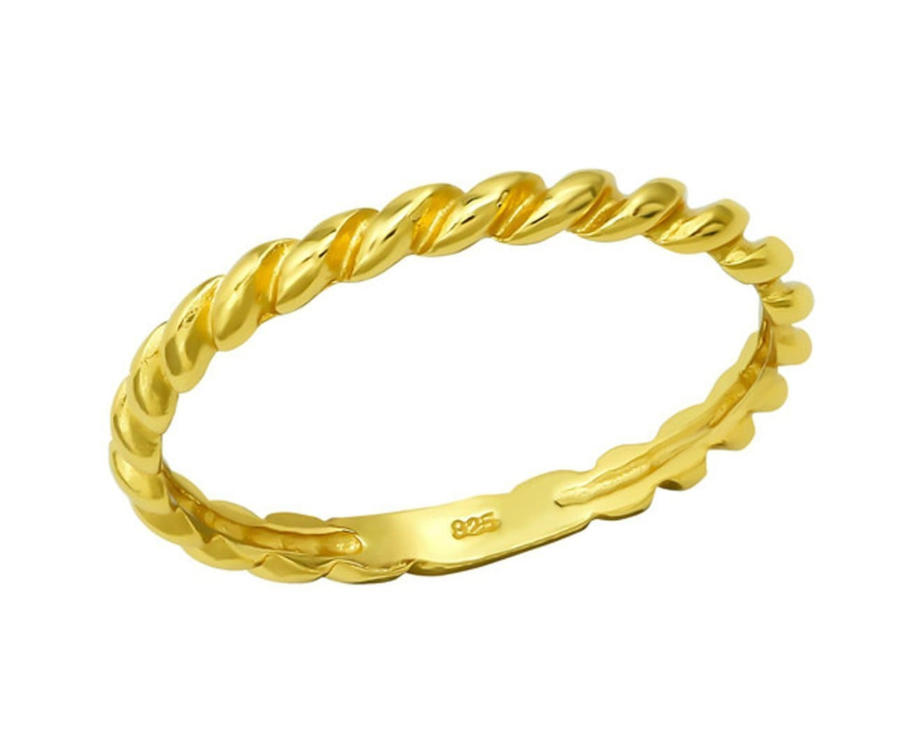 14K Gold Plated Sterling Silver Rope Ring