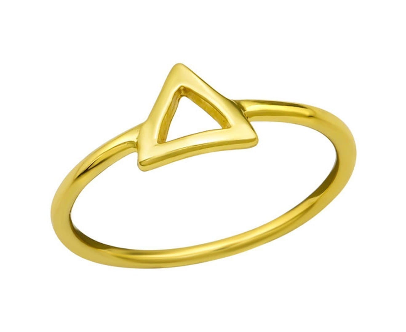 14K Gold Plated Sterling Silver Triangle Ring